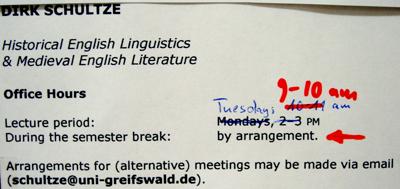 Sprechstunden im Institut fuer Anglistik und Amerikanistik der Universität Greifswald