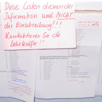 einschreibelisten fuer Anglistik Sprachpraxiskurse an der universitaet greifswald