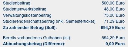 Studiengebuehren an der Goettinger Universitaet Sommersemester 2009