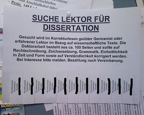 Flyer fuer Lektorat einer Dissertation Uni Goettingen