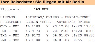 Flugdaten AirBerlin