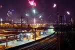 Silvester in Berlin: Feuerwerk von der Warschauer Brücke in Richtung Ostberlin