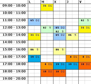 Stundenplan für Oviedo